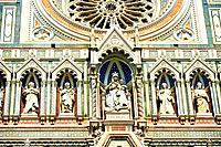 Close up of the Renaissance statues and architecture of the Florence Duomo, Italy.