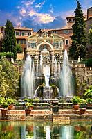 The water jets of the Organ fountain, 1566, housing organ pipies driven by air from the fountains. Villa d´Este, Tivoli, Italy - Unesco World Heritage...