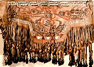 Shaman's fringed apron made of double caribou skin and painted in red and black. The design is bordered with embroidery and porcupine quillwork. Count...