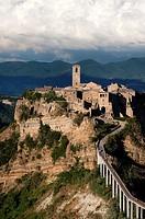 Civita di Bagnoregio. Viterbo District, Lazio, Italy. Footbridge to Village.