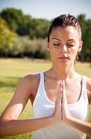 yoga girl in a park.