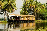 A traditional houseboat on Kerala Backwaters, South India.