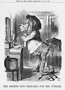 'The British Lion Prepares for the Jubilee', 1887. The British Lion prepares himself with great care to take part in Queen Victoria's Golden Jubilee c...