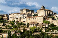 Overview of Gordes village, labeled The Most Beautiful Villages of France, Vaucluse department, Provence-Alpes-Cote d'Azur region. France.