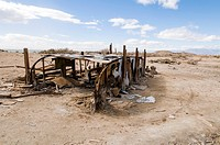 USA, California, Salton Sea, Bombay Beach. Skeletal remains of long ago abandoned camping trainer on the beach of former seaside resort town.