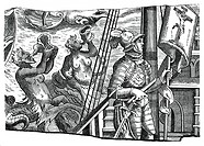 Christopher Columbus on board his ship, during his first voyage to the west, 16th century, (1870). A merman and a mermaid blow conch shells as Columbu...