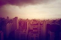 Pollution over Sao Paulo, Brazil, South America. Retro style image.