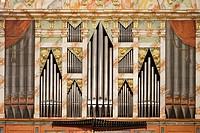 Baroque Organ of the Church of San Martin, Ataun, Goierri, Gipuzkoa, Basque Country, Spain.