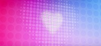 Spotted heart against a pink and blue gradient background
