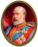 King Edward VII, 1910. Miniature portrait of King Edward VII (1841-1910). Before his accession to the throne in 1901, Edward held the title of Prince ...