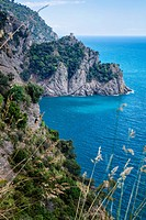 Scenic view of coastline on path between San Fruttuoso and Camogli on beautiful spring morning, Liguria, Italy