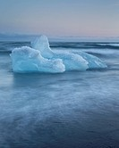Icebergs at Jokulsarlon beach, sunset, Iceland
