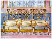 White gilt and painted settee, Pergolesi influence 1911-1912. A print from The Book of Decorative Furniture its Form, Colour and History, Volume II by...