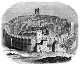 The Roman arena in Arles, Provence, France, in 1666 (1882-1884). The Roman amphitheatre in Arles was built in the 1st century BC. Over 20,000 spectato...