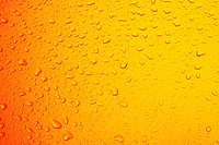 Close up of water drops on orange glass