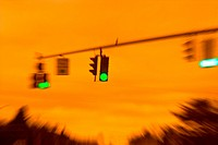 Going Through A Green Light At Sunset