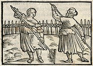 Two 16th century German hay makers at work.