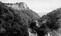 View of High Tor, a limestone crag which towers over Matlock Dale, Derbyshire.