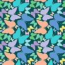 butterflies seamless pattern over blue extended