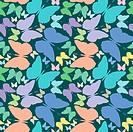 butterflies seamless pattern over blue extended