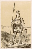 Navaho chief with spear and shield, in surprisingly European-like dress.