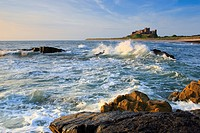 Bamburgh, Bamburgh Castle, surf, castle, England, rock, cliff, Great Britain, Europe, coast, sea, morning, morning mood, Northumberland, summer, sunri...