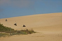 Quads on sand dunes of Oceano, San Luis Obispo County, Central Coast, California, USA.
