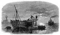 Engraving showing the moonlit scene as Confederate troops laid torpedoes in the main channel of Charlestown Harbour during the American Civil War.