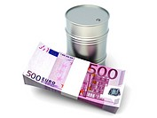 Euros and oil. 3D rendered Illustration. Isolated on white.