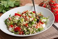Turkish bulgur wheat salad with vegetables.