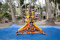 Tribal girls performing classical dance in gurukul.