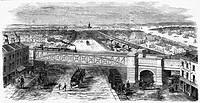 The Bow Spring bridge at Stepney Station, London. Designed by L. Clare and constructed by Messrs. Fox and Henderson, the bridge spans the 80 foot widt...