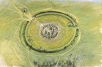 Stonehenge, Wiltshire. Aerial view reconstruction drawing of Phase 3II and 3b by Peter Dunn, English Heritage Graphics Team.