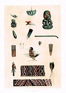 New Zealand Maori Ornaments and Decorations. They are an ear ornament, real or imitation teeth, grotesque figures (tiki), earrings, a tail feather, a ...