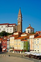 Slovenia, Primorska region, Adriatic Coast, Piran, Tartini Square and st. Georges church.
