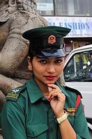 Female police, Durbar Square, Kathmandu, Nepal
