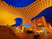 Night view of Metropol Parasol on La Encarnacion Square in Seville, Andalusia, Spain.