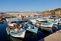 Turkey, Antalya, Boats in harbor