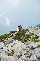 Two women hiking in Val Bondasca, Bergell, Grisons, Switzerland