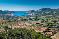 View of the resort town of Andratx on the Mediterranean coast of the Spanish Balearic island of Mallorca in Spain.