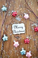 Seasonal greetings with star shaped ornaments