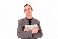 Successful businessman with a tablet