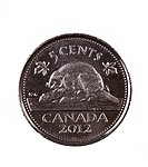 Ottawa, Canada, Avril 13, 2013, A brand new shiny 2012 Canadian five cents