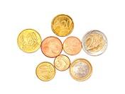 A few euros coins on white