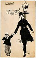 A humorous play on words as a female police officer leads away a naughty little boy. A cartoon illustration on a postcard by George Ranstead, an amate...