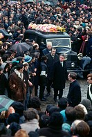 Aerial view of a crowded scene at a funeral in Northern Ireland.