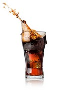 Cola with ice in glass isolated on a white background.
