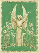 Lift up your Hearts' - Angel standing amongst lilies. An angel surrounded by flowers prays towards the heavens.