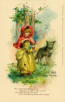 Little Red Riding Hood meets a wolf on her way through the wood.