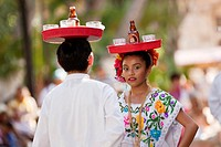 Young mexican dancers on the weekly sunday morning show, Merida, Yucatan, Mexico.